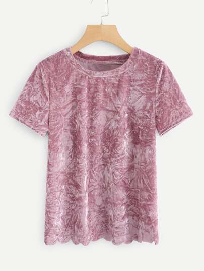 Solid Crushed Velvet Tee