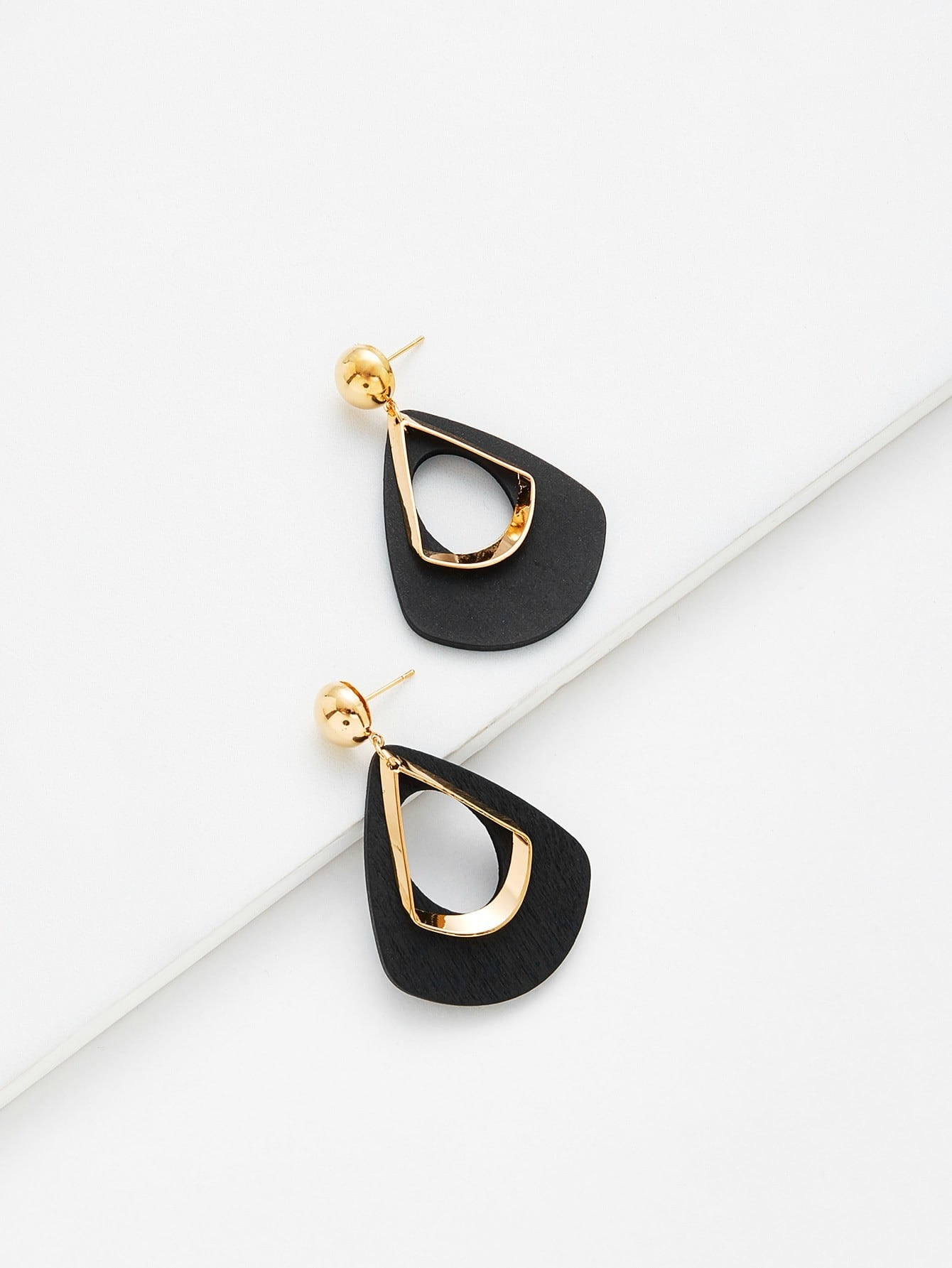 Hollow Water Drop Shaped Drop Earrings aluminum alloy water drop shaped cake