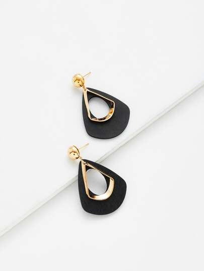 Hollow Water Drop Shaped Drop Earrings