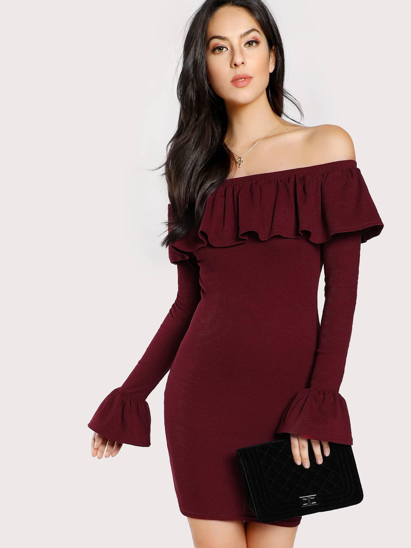 Bell Cuff Flounce Off Shoulder Dress dressmmc171102702