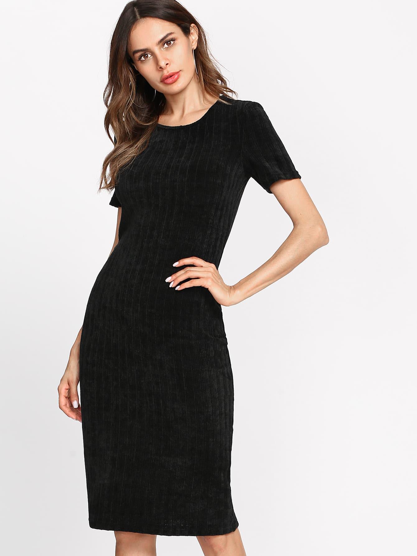 Form Fitting Ribbed Knit Dress dress171107704
