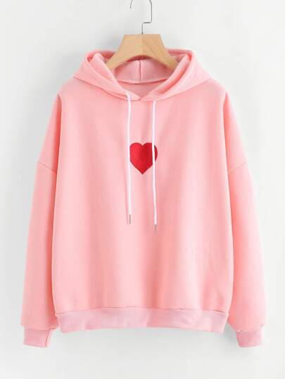 Drop Shoulder Heart Embroidered Hoodie