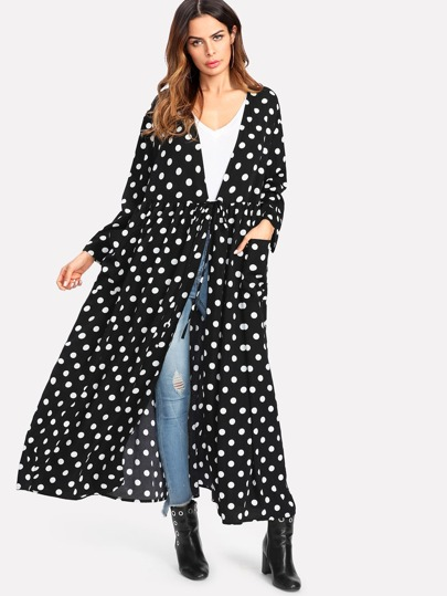 Pocket Patched Polka Dot Abaya