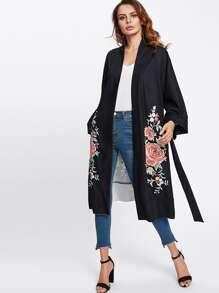 Simmetrico Stampa Fiore Kimono Coat