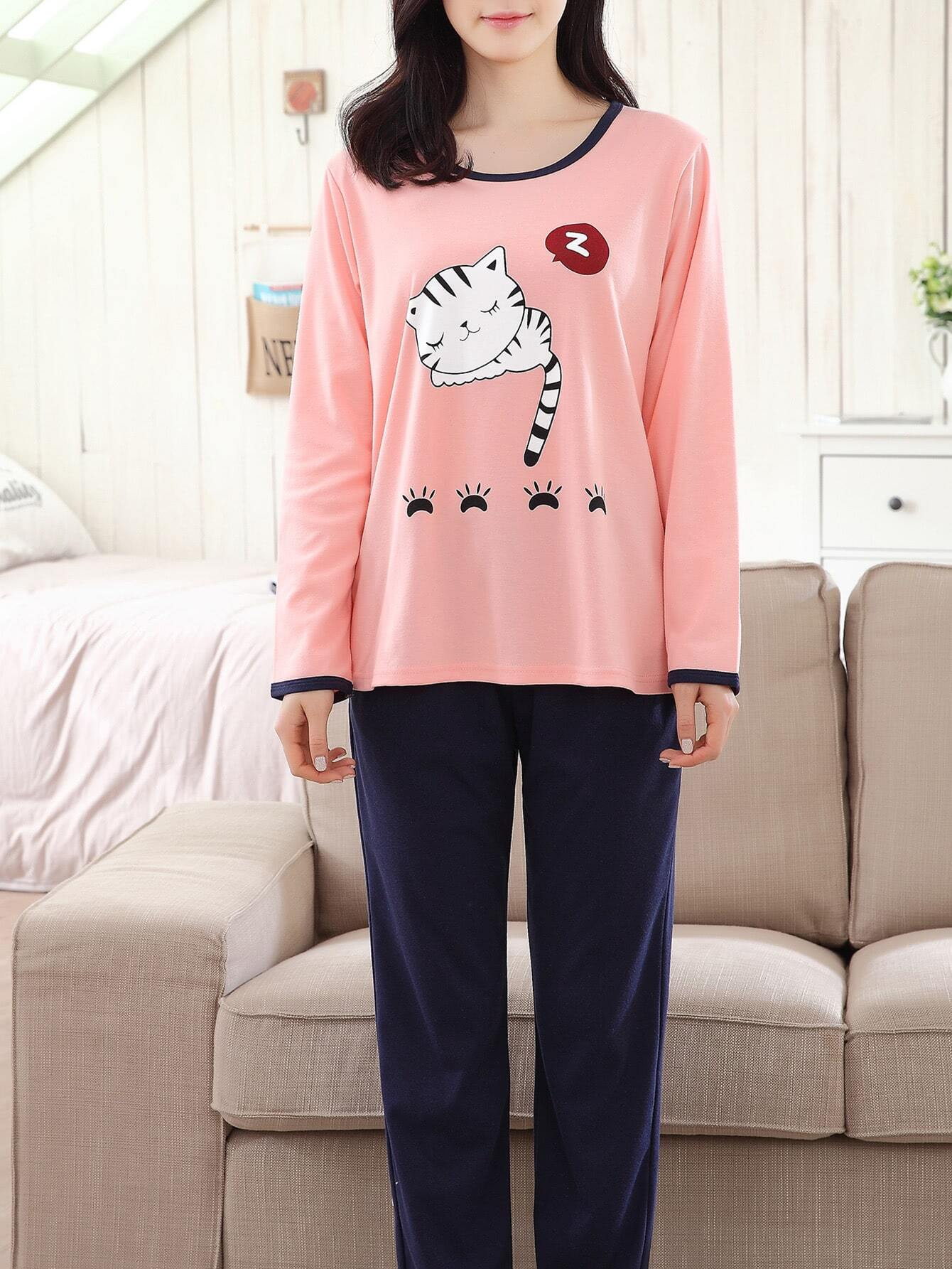 Contrast Trim Cartoon Cat Print Tee & Pants Pj Set