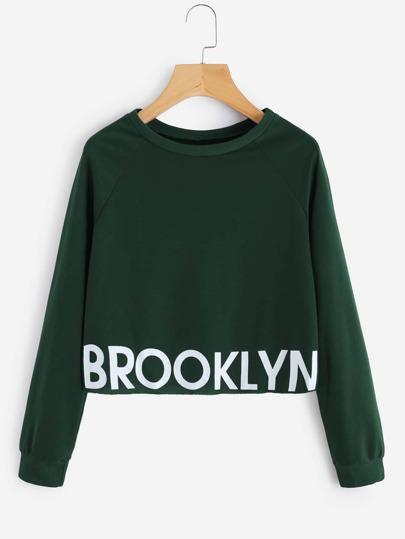 Letter Print Raglan Sleeve Crop Pullover