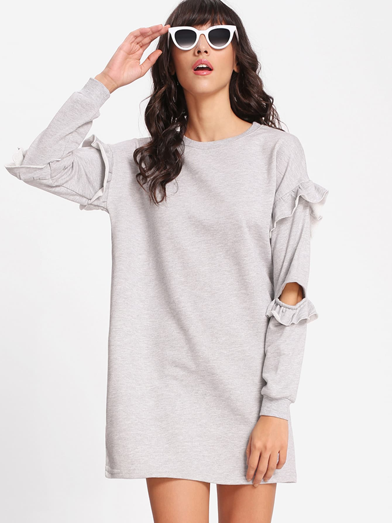 Elbow Cut Out Frill Trim Sweatshirt Dress frill layered pearl detail sweatshirt dress