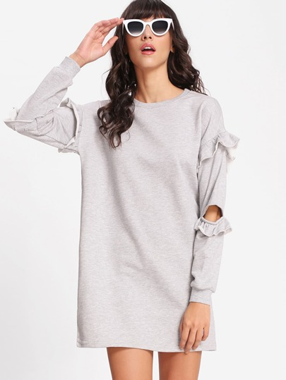 Elbow Cut Out Frill Trim Sweatshirt Dress