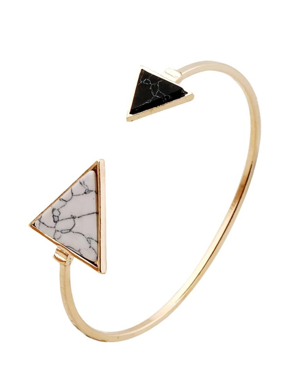 Two Tone Triangle Cuff Bracelet 1pc, null