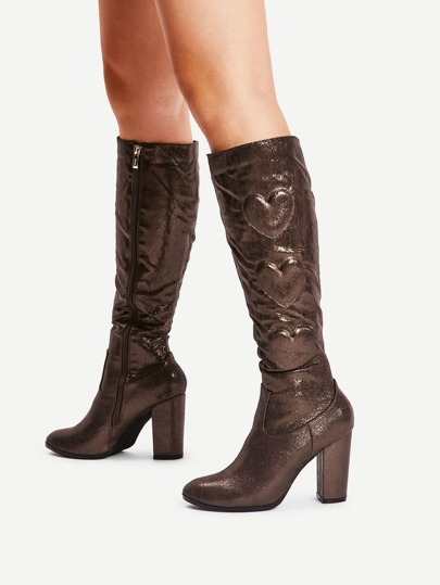 Heart Pattern Side Zipper Knee High Boots