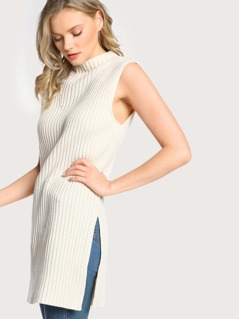 Sleeveless Ribbed High Neck Side Slit Dress OATMEAL