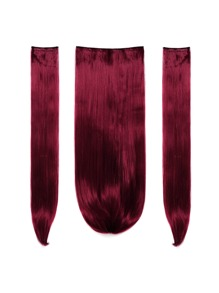 Burgundy Clip In Straight Hair Extension 3pcs