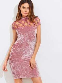 Geo Cutout Yoke Crushed Velvet Dress