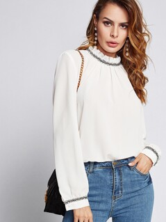 Frill Neck Contrast Trim Top