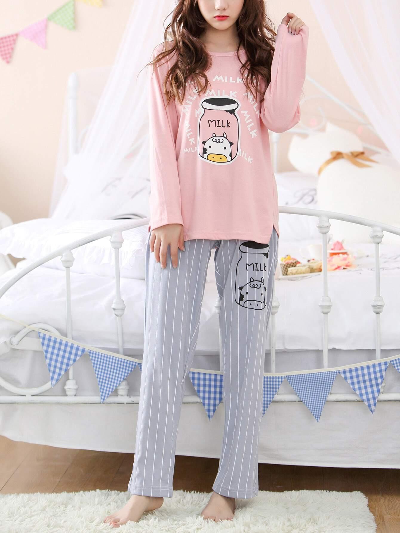 Milk Print Tee & Striped Pants Pj Set
