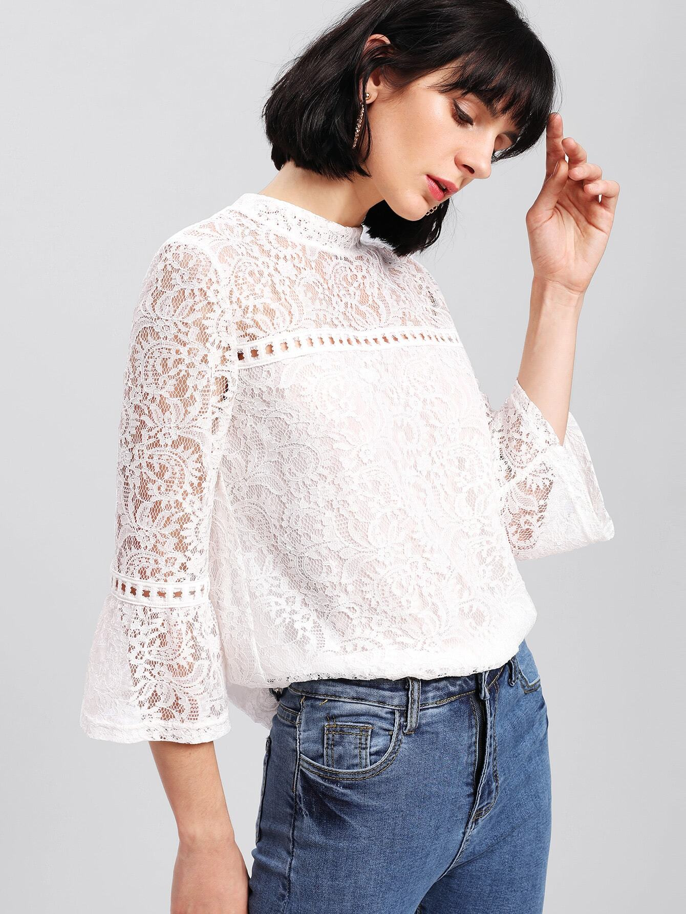 Hollow Cut Detail Floral Lace Top pearl detail layered frill sleeve top