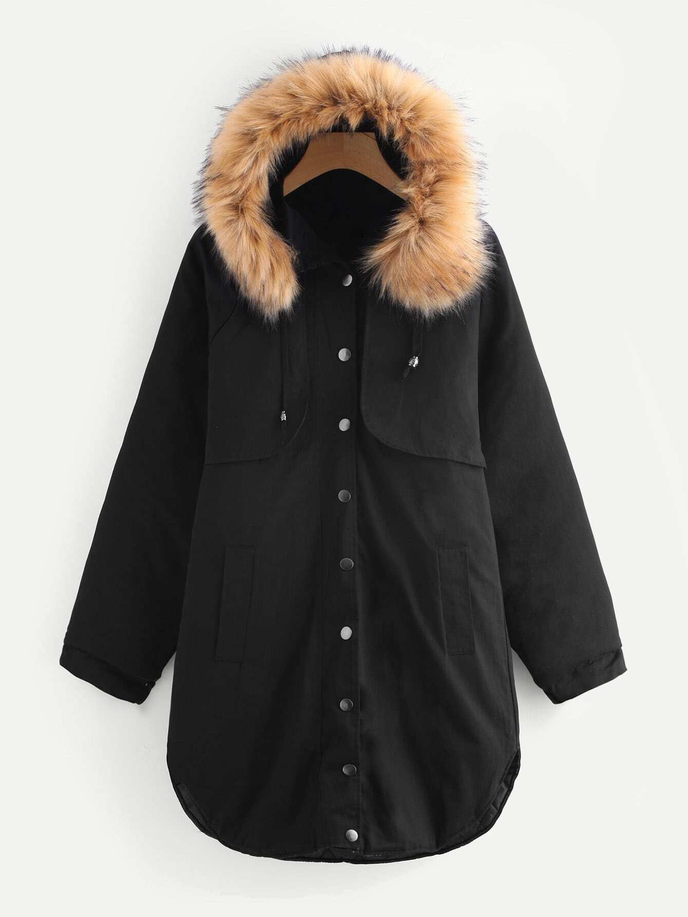 Image of Contrast Faux Fur Hood Curved Hem Coat