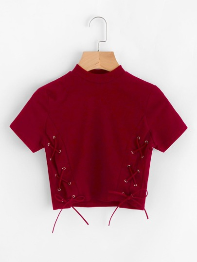 High Neck Eyelet Lace Up Crop Tee