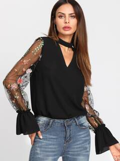 Embroidered Mesh Sleeve Choker Neck Blouse