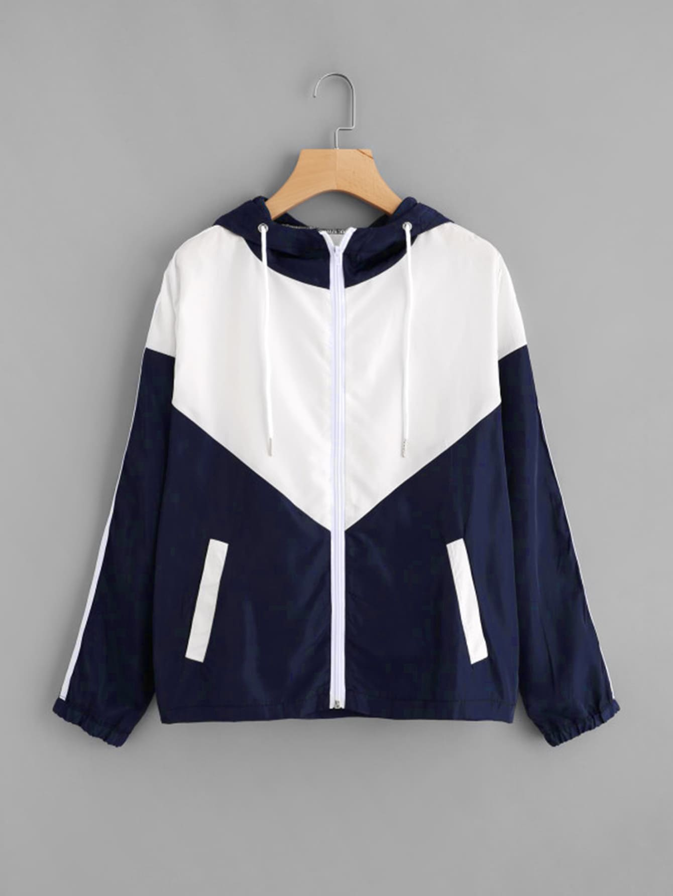 Two Tone Striped Side Hooded Jacket two tone letter tape detail hooded jacket
