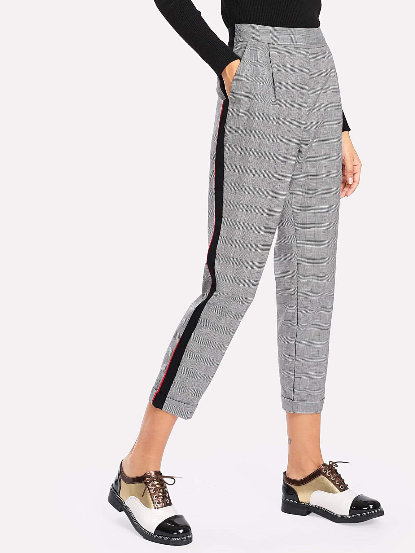 Image of Contrast Tape Plaid Crop Pants