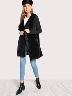 Drape Collar Faux Fur Coat