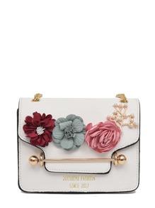 3D Flower Faux Pearl Detail Chain Bag