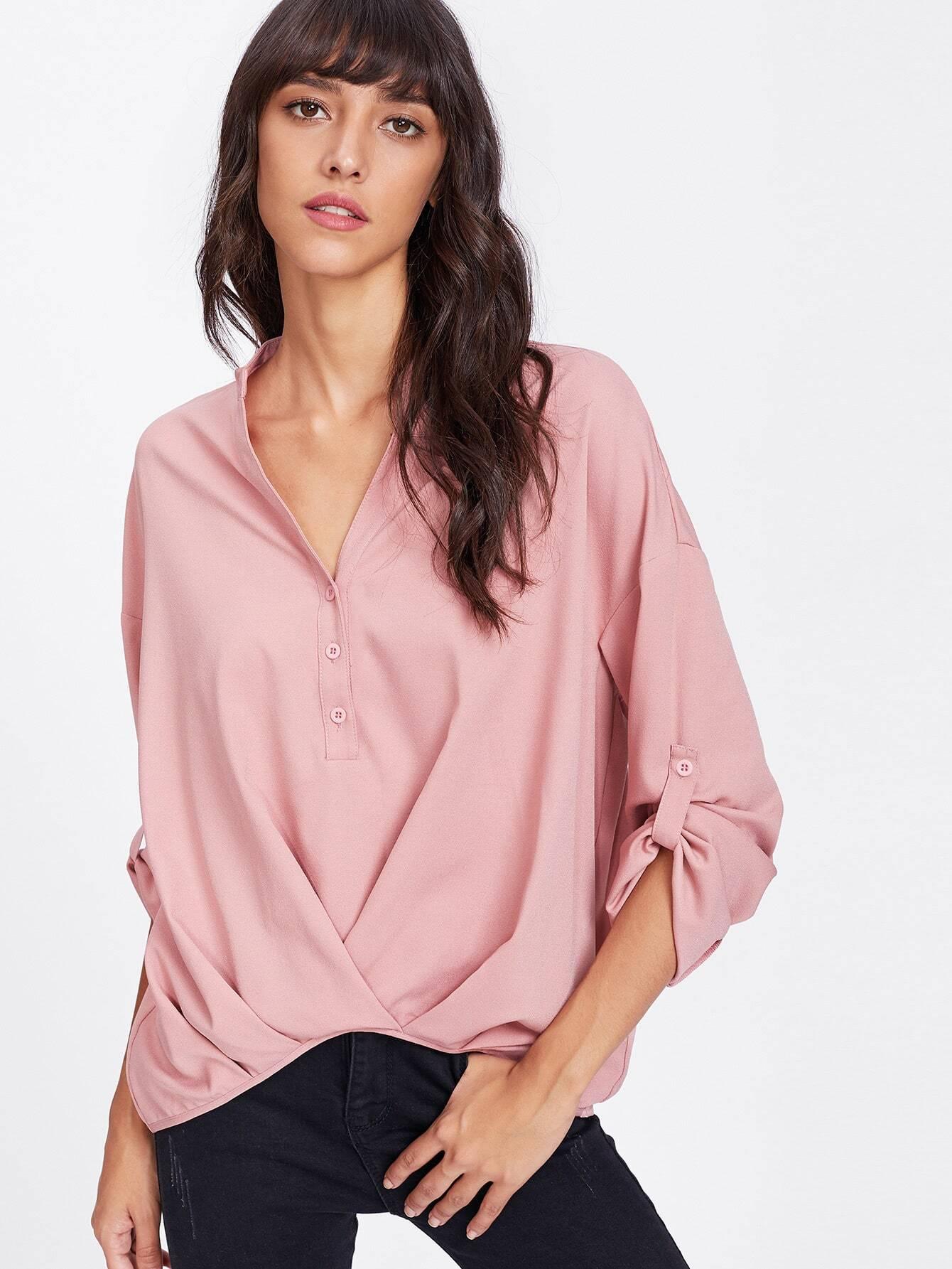 Twist Front Half Placket Drop Shoulder Blouse twist front half placket drop shoulder blouse