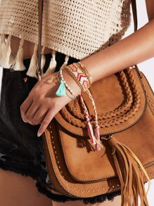 Beaded Design Bracelet Set With Tassel Charm