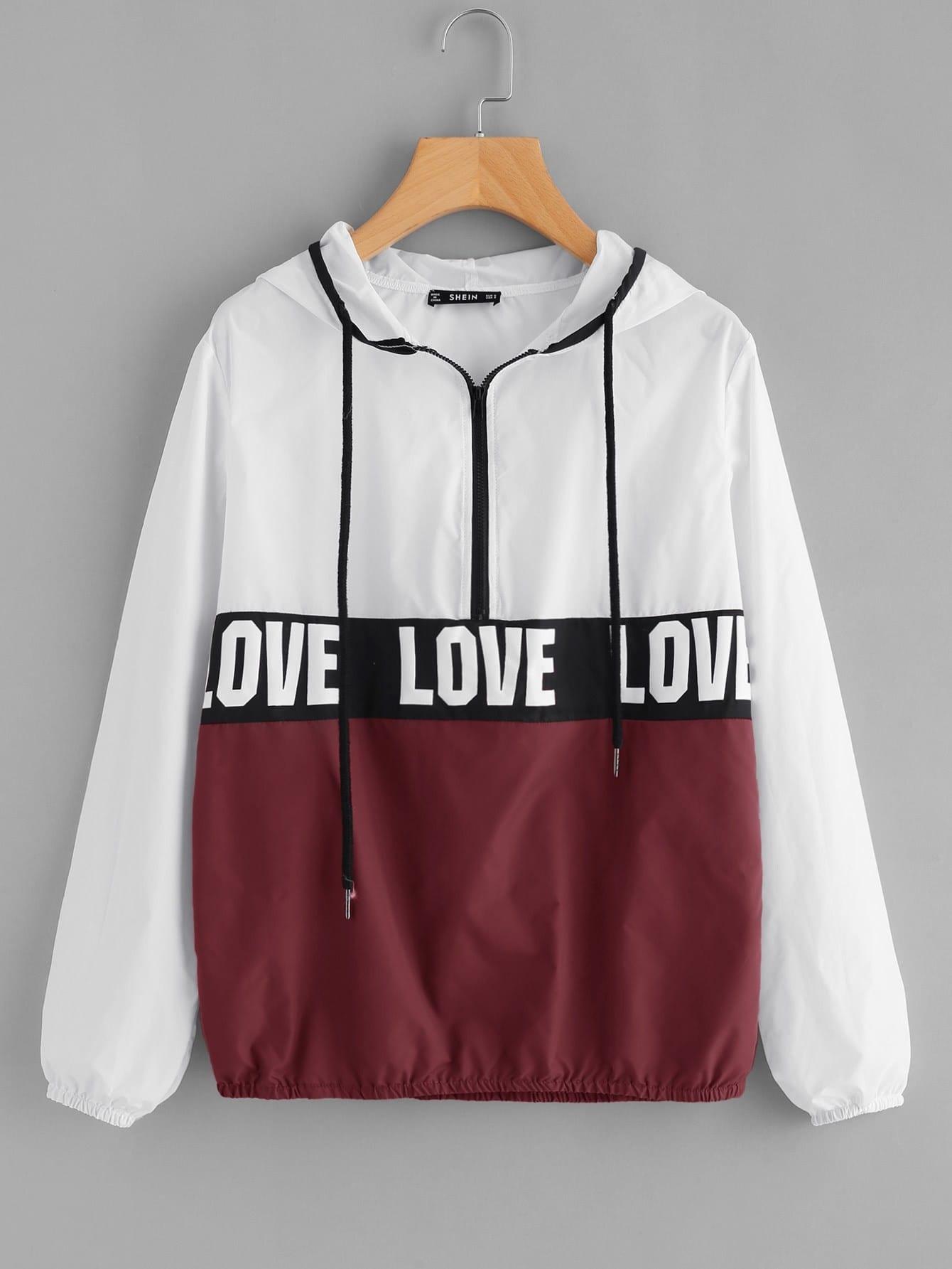 Zip Front LOVE Print Windbreaker Hoodie Jacket letter print zip front casual mens down jacket