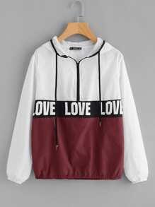 Zip Front LOVE Print Windbreaker Hoodie Jacket
