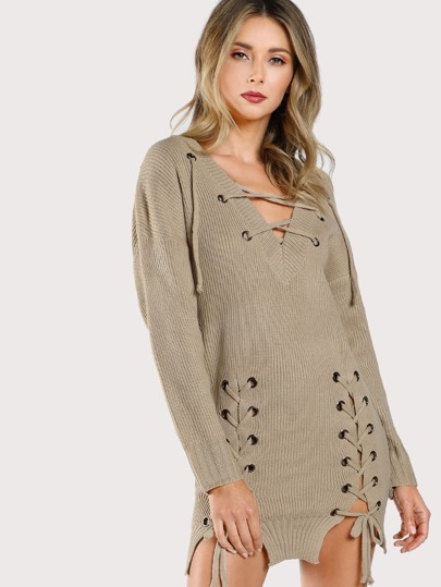Grommet Lace Up Sweater Dress TAUPE