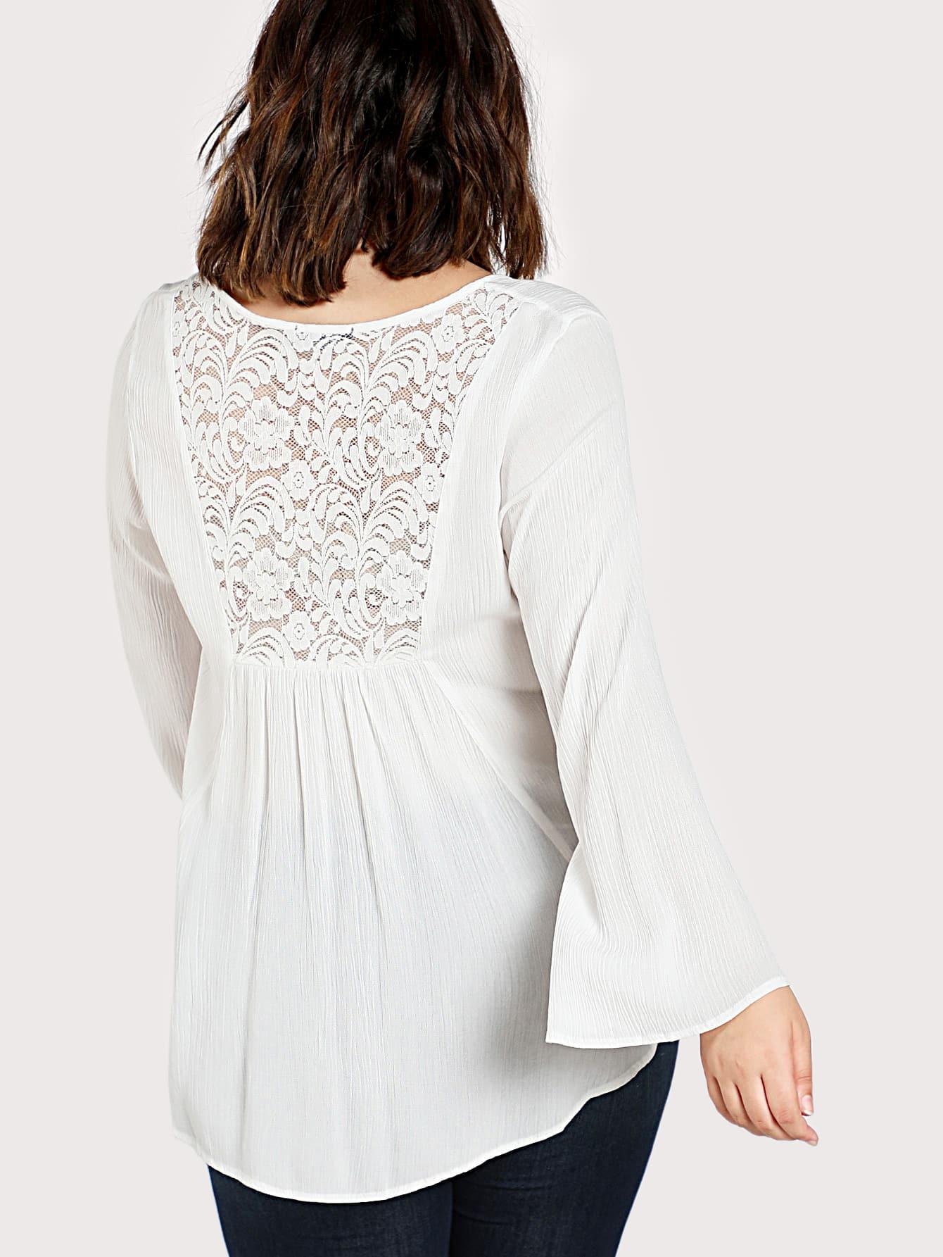 Lace Insert Crisscross Front Dip Hem Blouse lace insert floral blouse