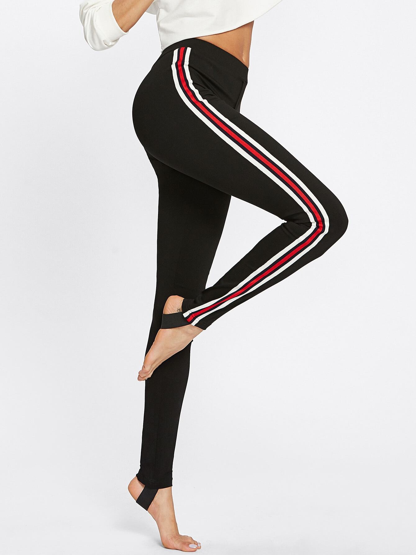 Striped Sideseam Stirrup Leggings