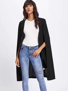 Knee Length Open Front Shawl Coat