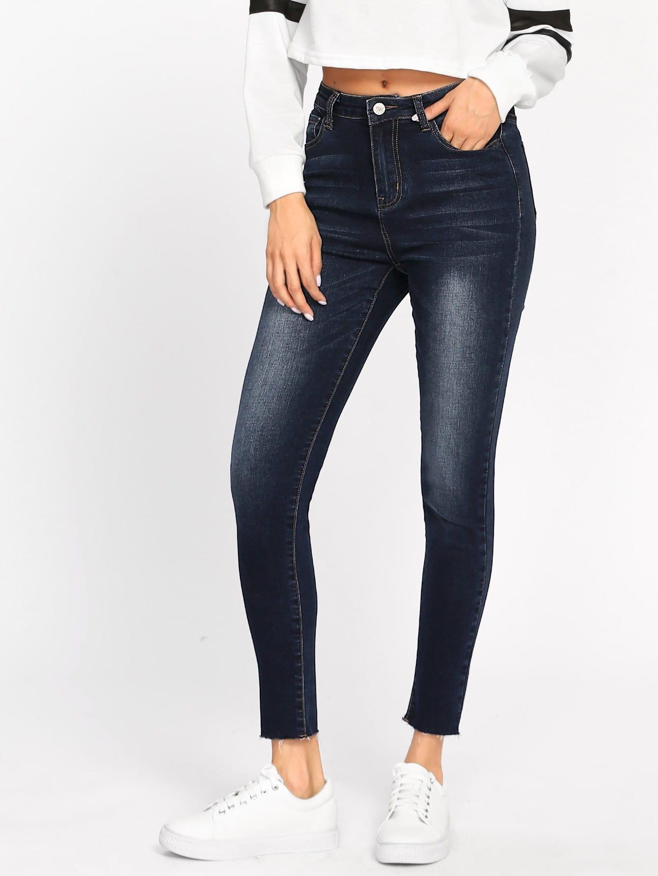 Dark Wash Raw Hem Jeans