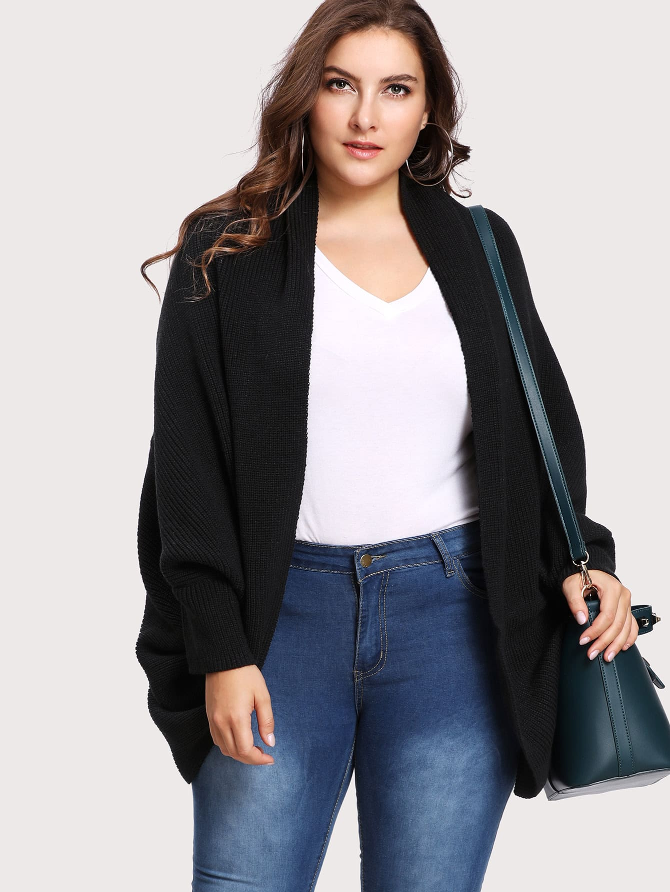 Image of Curved Dip Hem Open Front Dolman Cardigan