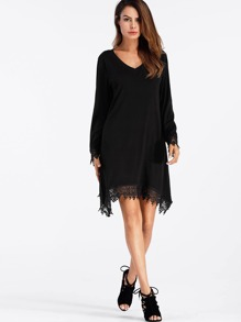 V Neckline Crochet Trim Tee Dress