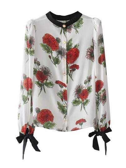 Tied Cuff Floral Blouse