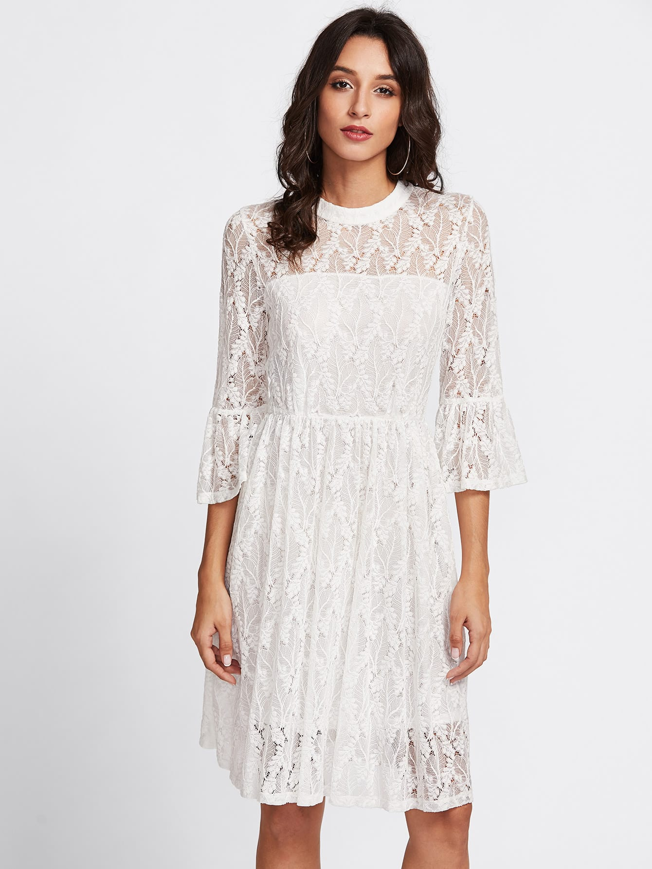 Fluted Sleeve Lace Overlay Dress lace up front fluted sleeve dress