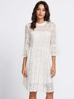 Fluted Sleeve Lace Overlay Dress