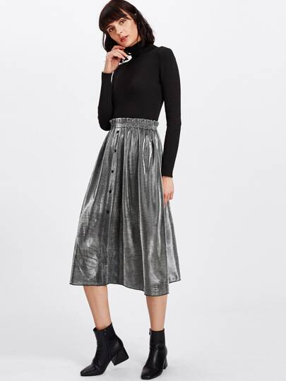 Frilled Waist Button Up Skirt