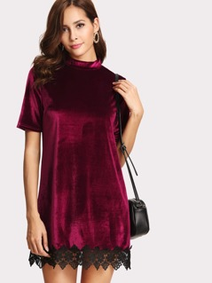 Floral Lace Applique Hem Velvet Dress