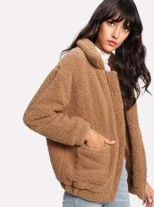 Dual Pocket Faux Fur Teddy Jacket -SheIn(Sheinside)