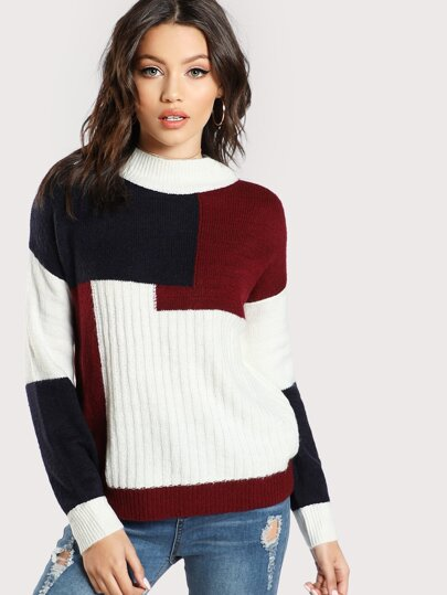 Jersey con cuello alto en color block