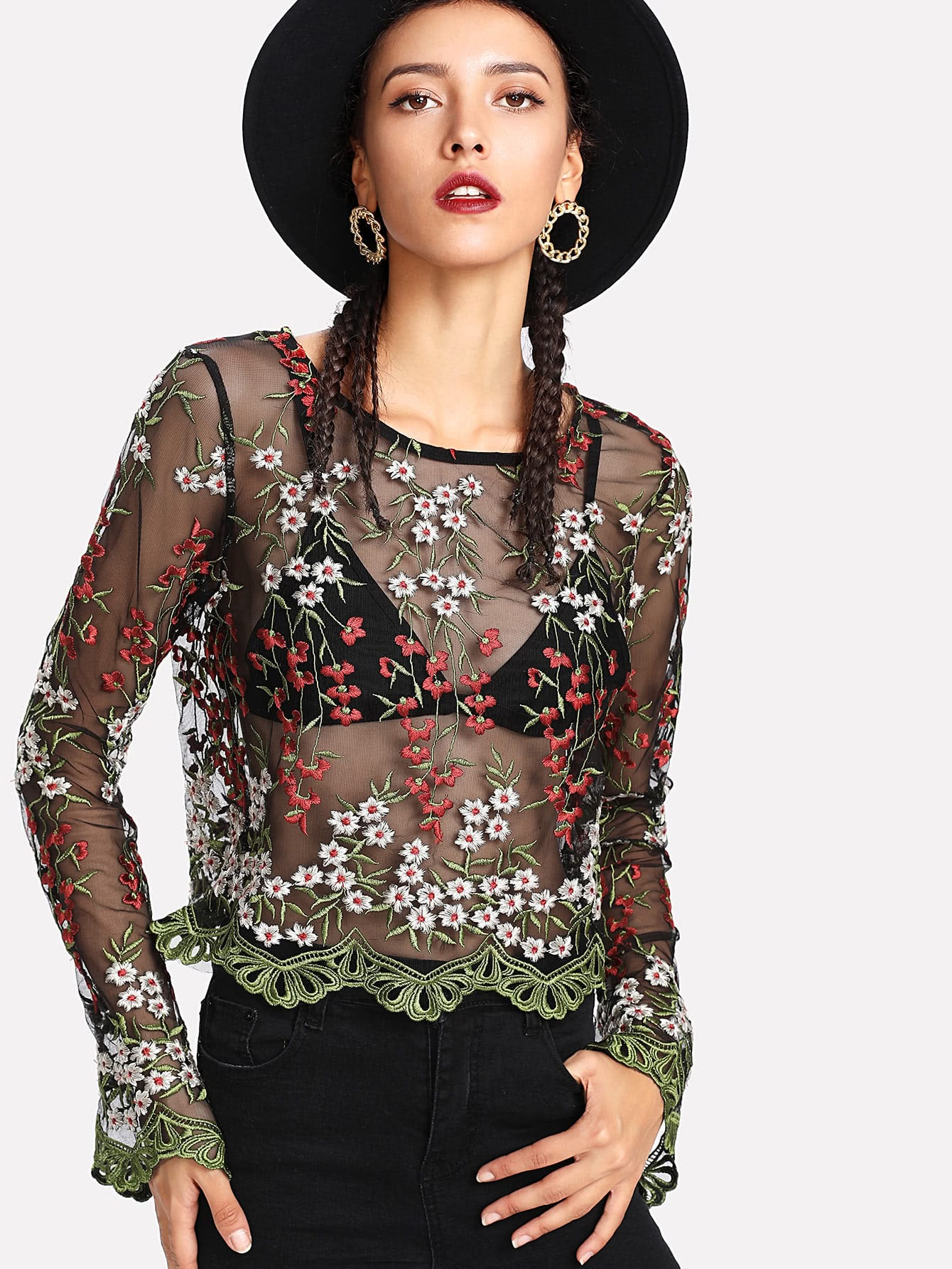 Embroidery Mesh Scalloped Crop Top blouse171026469