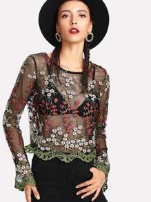 Embroidery Mesh Scalloped Crop Top