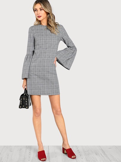 Trumpet Sleeve Plaid Dress