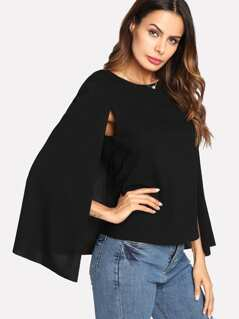 Keyhole Back Cloak Sleeve Blouse