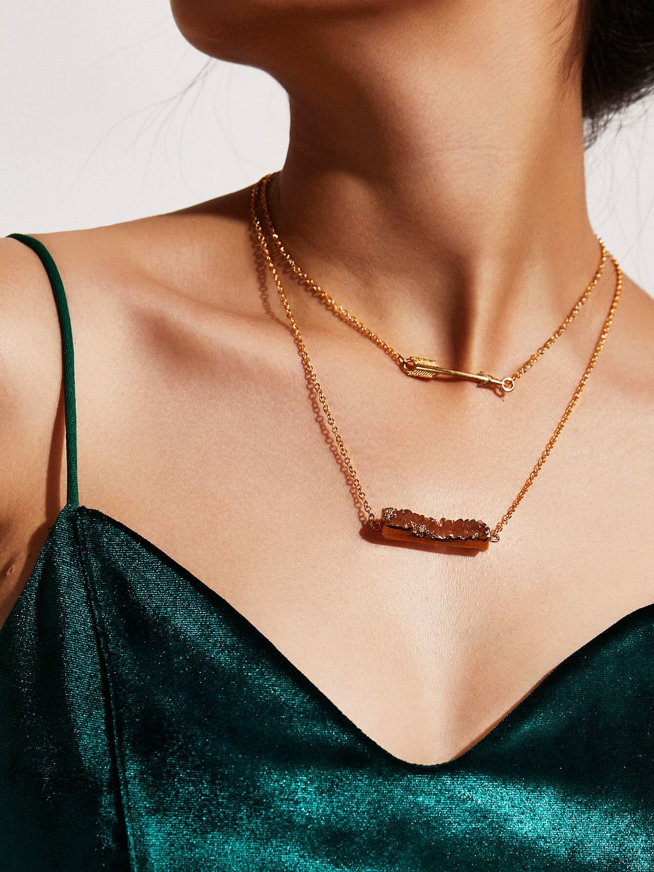 Image of Arrow Pendant Layered Chain Necklace
